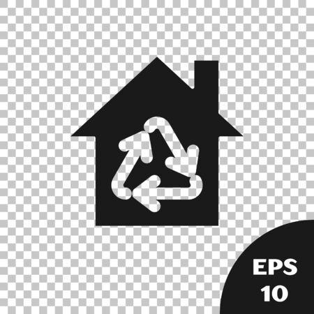 Black Eco House with recycling symbol icon isolated on transparent background. Ecology home with recycle arrows. Vector Illustration Illusztráció