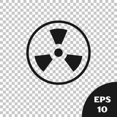 Black Radioactive icon isolated on transparent background. Radioactive toxic symbol. Radiation Hazard sign. Vector Illustration Vector Illustration