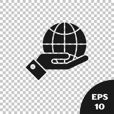 Black Human hands holding Earth globe icon isolated on transparent background. Save earth concept. Vector Illustration