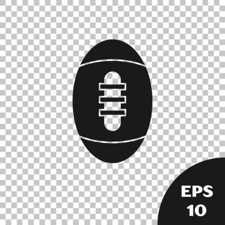 Black American Football ball icon isolated on transparent background. Rugby ball icon. Team sport game symbol. Vector Illustration