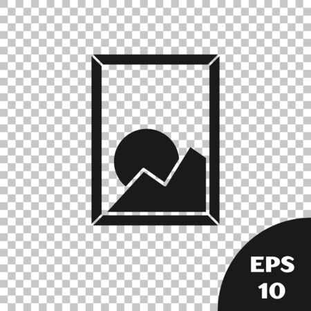 Black Picture landscape icon isolated on transparent background. Vector Illustration Stok Fotoğraf - 133667592