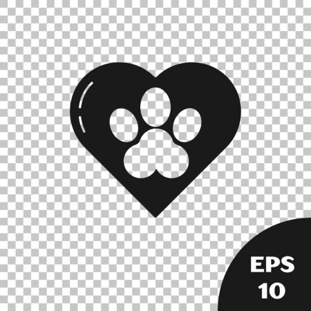 Black Heart with animals footprint icon isolated on transparent background. Pet paw in heart. Love to the animals. Vector Illustration Фото со стока - 133667616