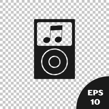 Black Music player icon isolated on transparent background. Portable music device. Vector Illustration Фото со стока - 133667647