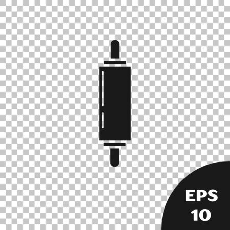 Black Rolling pin icon isolated on transparent background. Vector Illustration