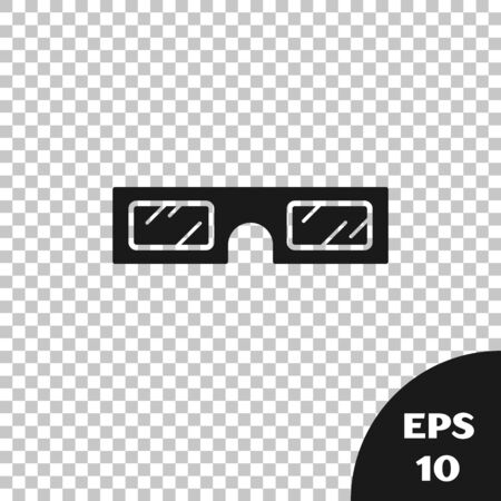 Black 3D cinema glasses icon isolated on transparent background. Vector Illustration 일러스트