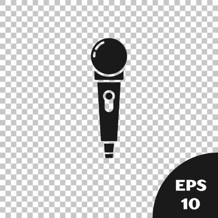 Black Microphone icon isolated on transparent background. On air radio mic microphone. Speaker sign. Vector Illustration Фото со стока - 133667650