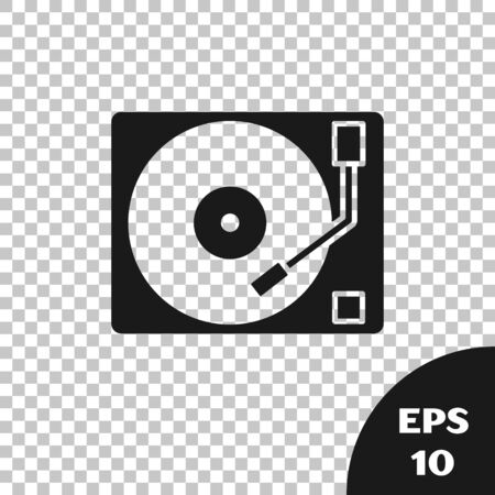 Black Vinyl player with a vinyl disk icon isolated on transparent background. Vector Illustration Фото со стока - 133667654