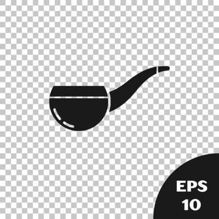 Black Smoking pipe with smoke icon isolated on transparent background. Tobacco pipe. Vector Illustration
