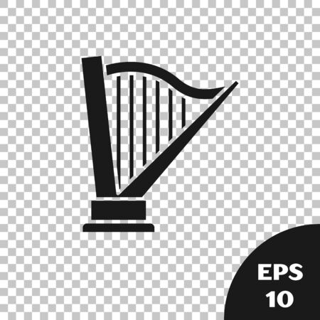 Black Harp icon isolated on transparent background. Classical music instrument, orhestra string acoustic element. Vector Illustration