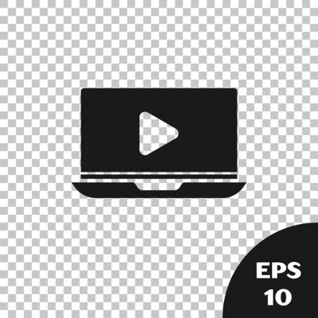 Black Online play video icon isolated on transparent background. Laptop and film strip with play sign. Vector Illustration Ilustracja