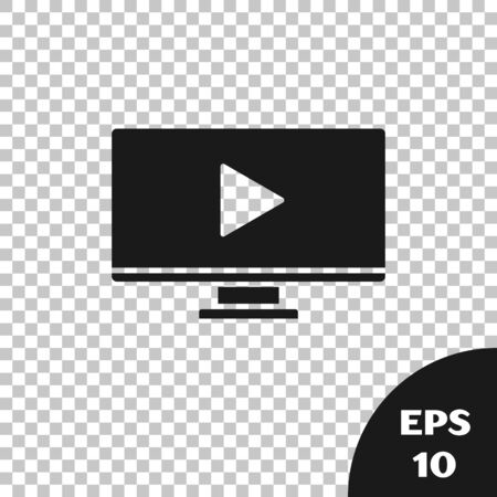 Black Online play video icon isolated on transparent background. Computer monitor and film strip with play sign. Vector Illustration Ilustracja