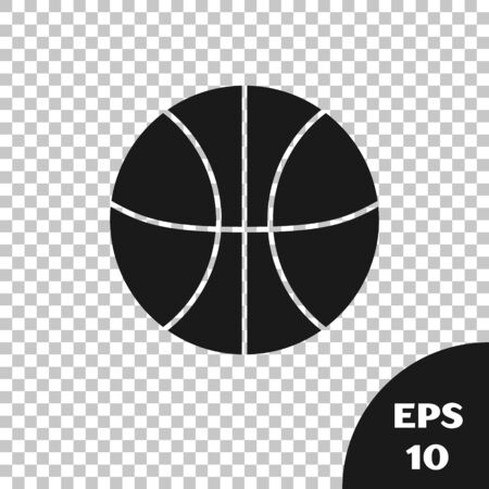 Black Basketball ball icon isolated on transparent background. Sport symbol. Vector Illustration