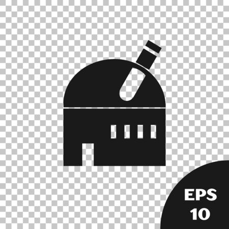 Black Astronomical observatory icon isolated on transparent background. Observatory with a telescope. Scientific institution. Vector Illustration  イラスト・ベクター素材