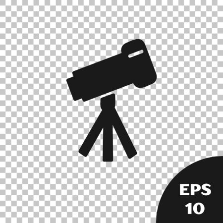 Black Telescope icon isolated on transparent background. Scientific tool. Education and astronomy element, spyglass and study stars. Vector Illustration