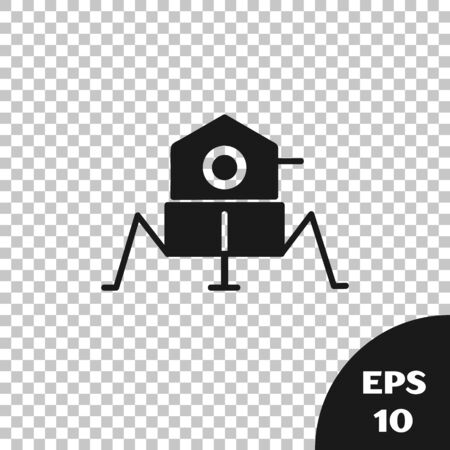Black Mars rover icon isolated on transparent background. Space rover. Moonwalker sign. Apparatus for studying planets surface. Vector Illustration