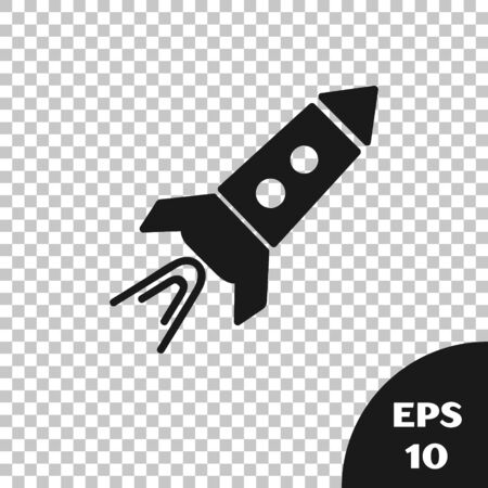 Black Rocket ship with fire icon isolated on transparent background. Space travel. Vector Illustration  イラスト・ベクター素材