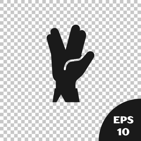 Black Vulcan salute icon isolated on transparent background. Hand with vulcan greet. Spock symbol. Vector Illustration Иллюстрация