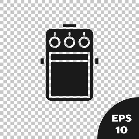 Black Guitar pedal icon isolated on transparent background. Musical equipment. Vector Illustration Reklamní fotografie - 133668254