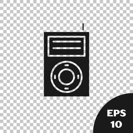 Black Music MP3 player icon isolated on transparent background. Portable music device. Vector Illustration Ilustrace