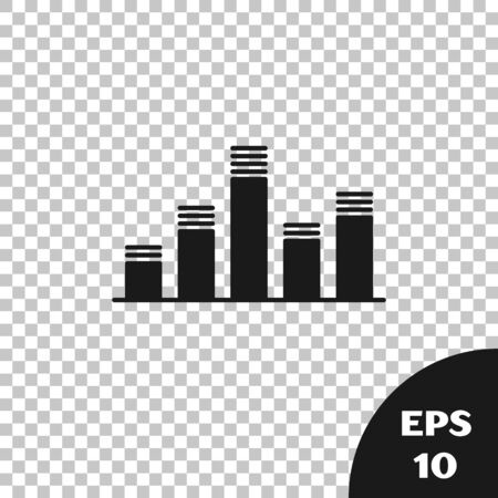 Black Music equalizer icon isolated on transparent background. Sound wave. Audio digital equalizer technology, console panel, pulse musical. Vector Illustration