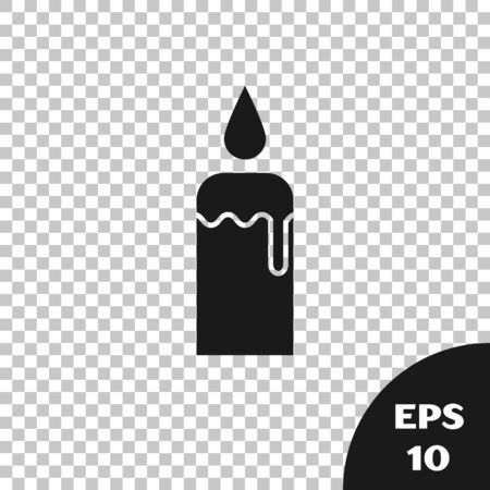 Black Burning candle in candlestick icon isolated on transparent background. Cylindrical candle stick with burning flame. Vector Illustration