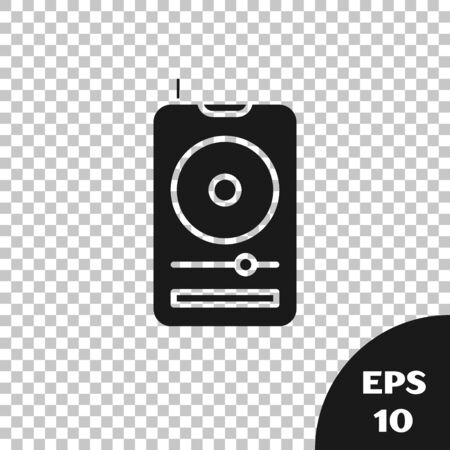 Black Music player icon isolated on transparent background. Portable music device. Vector Illustration