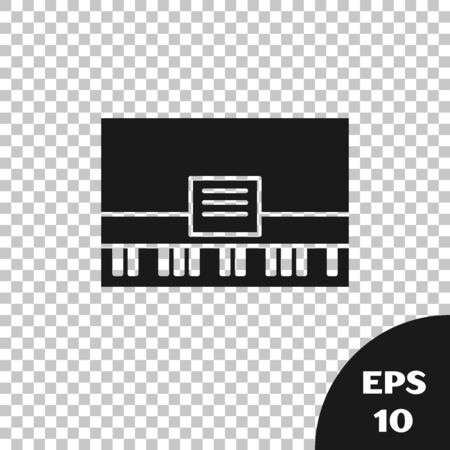 Black Piano icon isolated on transparent background. Musical instrument. Vector Illustration