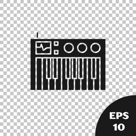 Black Music synthesizer icon isolated on transparent background. Electronic piano. Vector Illustration Фото со стока - 133665344