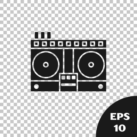 Black DJ remote for playing and mixing music icon isolated on transparent background. DJ mixer complete with vinyl player and remote control. Vector Illustration Фото со стока - 133665347
