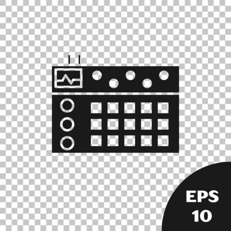 Black Drum machine icon isolated on transparent background. Musical equipment. Vector Illustration Фото со стока - 133665350