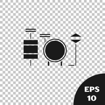 Black Drums icon isolated on transparent background. Music sign. Musical instrument symbol. Vector Illustration Фото со стока - 133665349