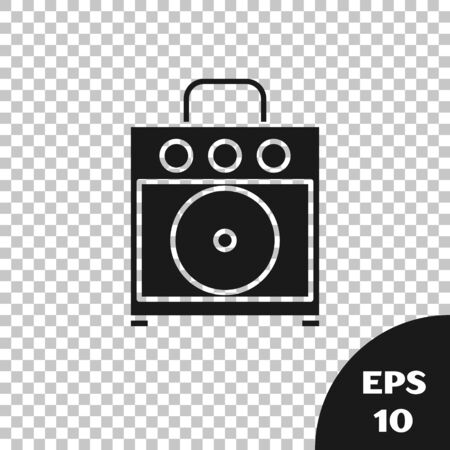 Black Guitar amplifier icon isolated on transparent background. Musical instrument. Vector Illustration