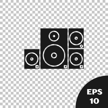 Black Stereo speaker icon isolated on transparent background. Sound system speakers. Music icon. Musical column speaker bass equipment. Vector Illustration Фото со стока - 133665353