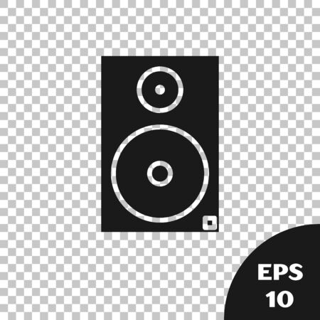Black Stereo speaker icon isolated on transparent background. Sound system speakers. Music icon. Musical column speaker bass equipment. Vector Illustration