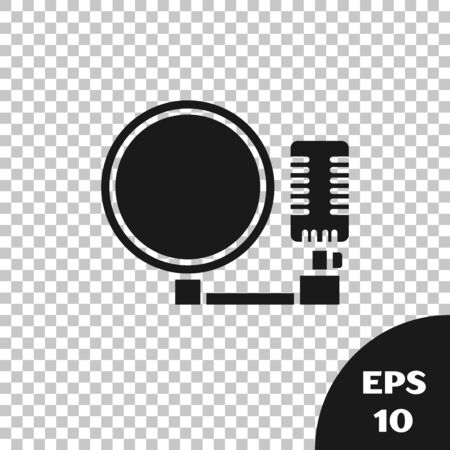 Black Microphone icon isolated on transparent background. On air radio mic microphone. Speaker sign. Vector Illustration Фото со стока - 133665359
