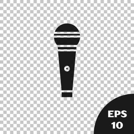 Black Microphone icon isolated on transparent background. On air radio mic microphone. Speaker sign. Vector Illustration Фото со стока - 133665360