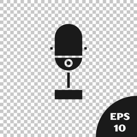 Black Microphone icon isolated on transparent background. On air radio mic microphone. Speaker sign. Vector Illustration Фото со стока - 133665489