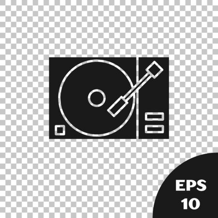 Black Vinyl player with a vinyl disk icon isolated on transparent background. Vector Illustration Иллюстрация