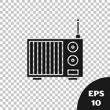 Black Radio with antenna icon isolated on transparent background. Vector Illustration Фото со стока - 133665496