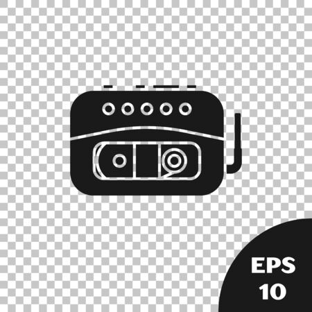 Black Music tape player icon isolated on transparent background. Portable music device. Vector Illustration
