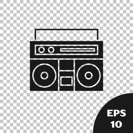 Black Home stereo with two speakers icon isolated on transparent background. Music system. Vector Illustration Фото со стока - 133665501