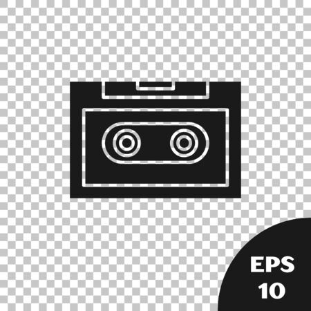 Black Retro audio cassette tape icon isolated on transparent background. Vector Illustration