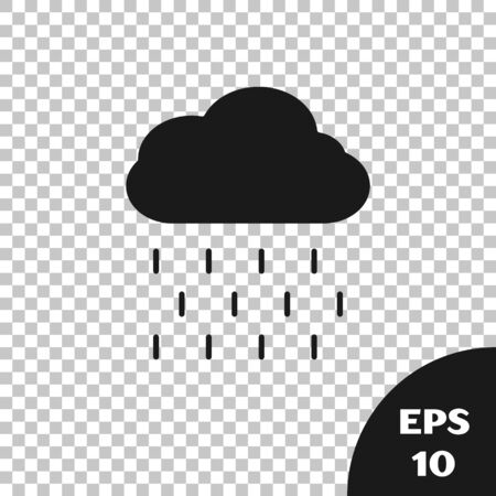 Black Cloud with rain icon isolated on transparent background. Rain cloud precipitation with rain drops. Vector Illustration