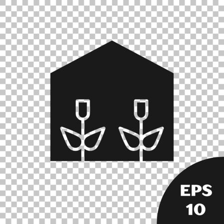 Black Home greenhouse and plants icon isolated on transparent background. Vector Illustration