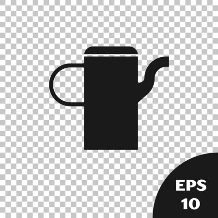 Black Watering can icon isolated on transparent background. Irrigation symbol. Vector Illustration
