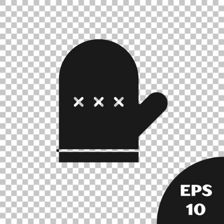 Black Oven glove icon isolated on transparent background. Kitchen potholder sign. Cooking glove. Vector Illustration