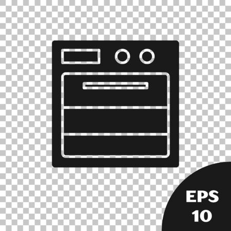 Black Oven icon isolated on transparent background. Stove gas oven sign. Vector Illustration Standard-Bild - 133665755