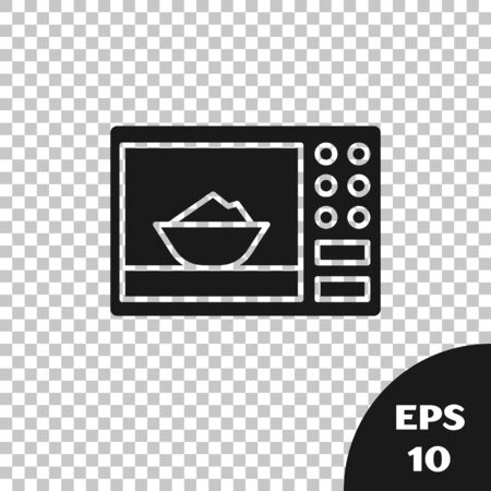 Black Microwave oven icon isolated on transparent background. Home appliances icon. Vector Illustration Standard-Bild - 133665754