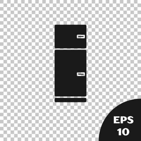 Black Refrigerator icon isolated on transparent background. Fridge freezer refrigerator. Household tech and appliances. Vector Illustration Standard-Bild - 133665756