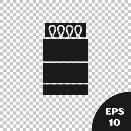 Black Open matchbox and matches icon isolated on transparent background. Vector Illustration